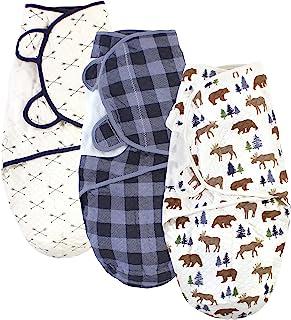Hudson Baby Unisex pikowana bawełniana chusta 3 szt, Łoś niedźwiedź koc do noszenia, 0-3 miesiące