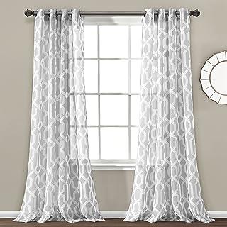 "Lush Decor Edward Trellis Sheer Window Curtain Panel Pair, 84"" Long x 52"" Wide, Gray"