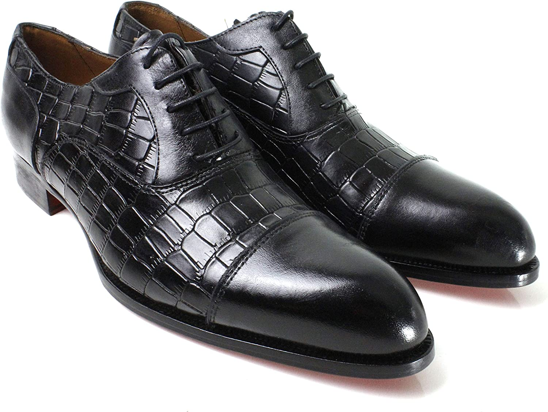 Ivan Troy Ali Men's Dress Shoes/Crocodile Embossed Shoes/Italian Men's Shoes/Men's Leather Dress Shoes/Italian Oxford Shoes/