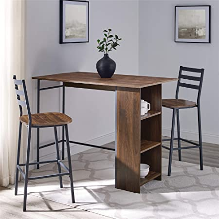 Amazon Com Walker Edison Azw48lnsb3pdw 3 Piece Drop Leaf Counter Table Dining Set With Storage 48 Dark Walnut Table Chair Sets