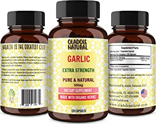 Oladole Natural Garlic 500 Mg 120 Capsules (Non-GMO)- Potent Antioxidant*- Supports Cardiovascular Health, Immune and Dige...