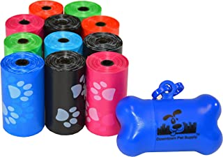(220 Bags, Rainbow with Paw Prints) - 180, 220, 500, 700, 880, 960, 2200 Dog Pet Waste Poop Bags, Bulk roll,Clean up refills-(Green, Blue, Purple, Red, Black, Pink,Rainbow of Colours or Paw Print)+FREE Bone Dispenser,Downtown Pet Supply