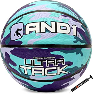 """AND1 Ultra Grip Advanced Premium Rubber Basketball (Inflated) OR (Deflated w/Pump Included): Official Regulation Size 7 (29.5"""") Streetball, Made for Indoor and Outdoor Basketball Games"""