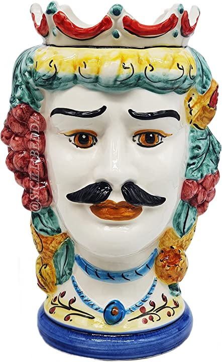 Testa di moro siciliana in ceramica di caltagirone - realizzate a mano - h centimetri 25 - sicilia bedda B094FPWQ7W