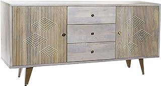 DRW Buffet aparador de Madera Mango y Metal con 2 Puertas y 3 cajones decape Gris 180x45x87cm