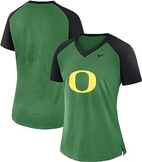 Nike Women's Oregon Ducks Fan Raglan V-Neck Shirt (Large)