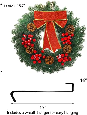 FUNPENY Pre-lit Artificial Christmas Wreath, 40 LED 16 Inch Spruce Berries Pine Cone Garland with Red Bows Artificial Holly L
