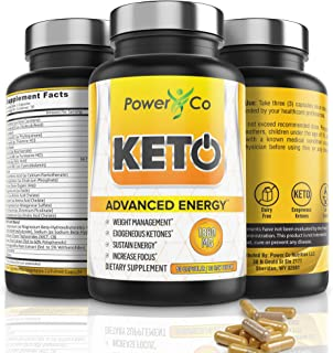 Keto Diet Pills for Energy - Powerful Metabolism Boost - Ketosis Supplement, Manages Cravings, Increases Focus - BHB Exogenous Ketones, C8 MCT Oil, Electrolytes, Ashwagandha - 90 Capsules by PowerCo