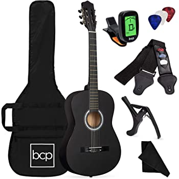 Best Choice Products 38in Beginner All Wood Acoustic Guitar Starter Kit w/Case, Strap, Digital Tuner, Pick, Strings - Matte Black