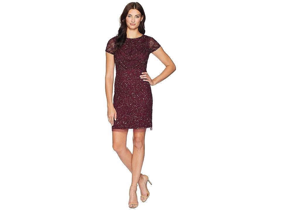 Adrianna Papell Short Sleeve Fully Beaded Cocktail Dress (Cabernet) Women