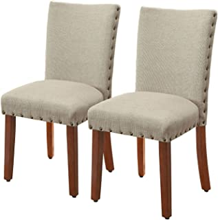 HomePop Parsons Classic Upholstered Accent Dining Chair with Nailheads, Set of 2, Burlap