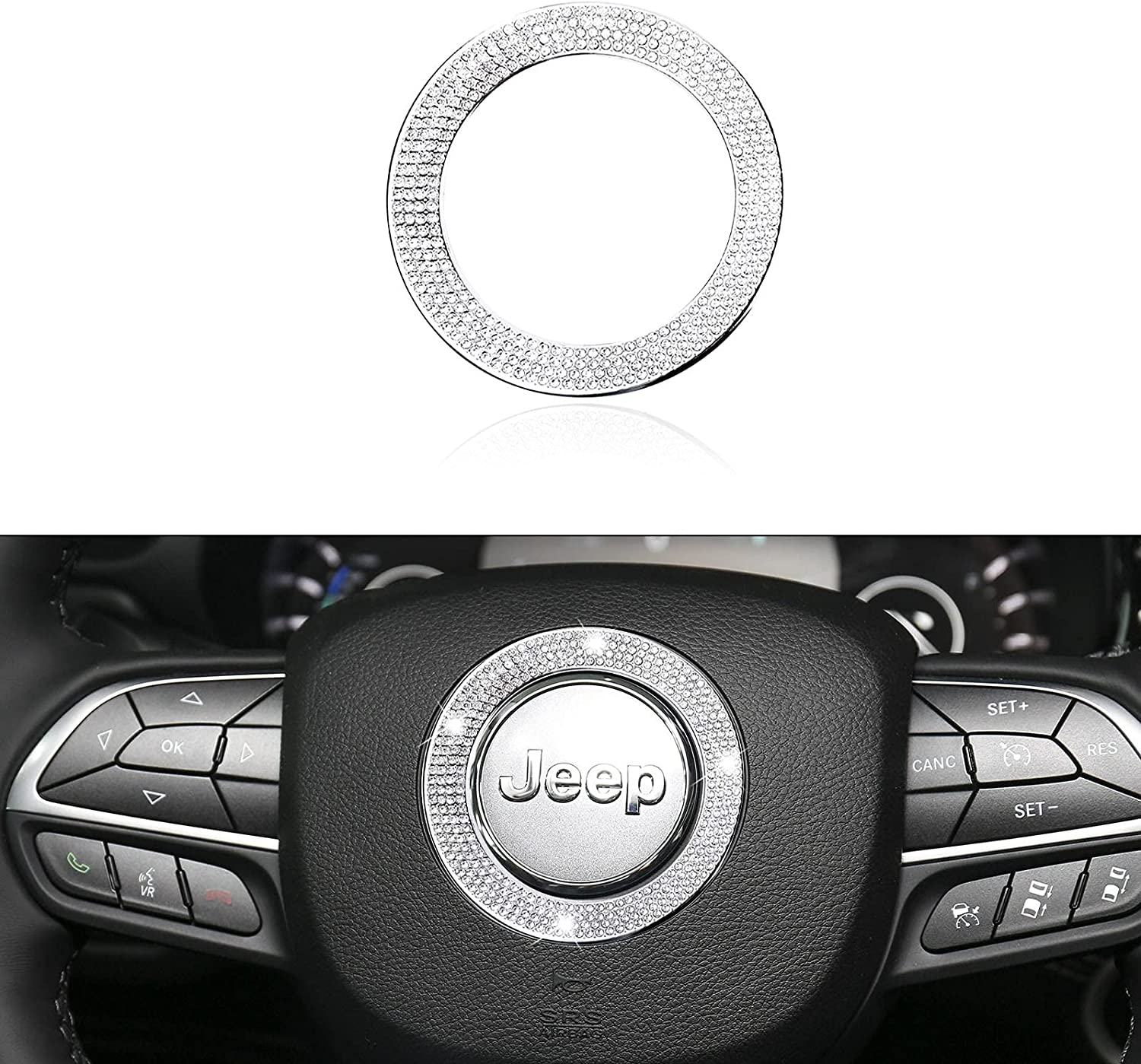 Compatible Reservation with Super sale Jeep Steering Wheel Interior Emblem Bling Logo A