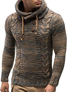 COOFANDY Men's Knitted Cotton Pullover Hoodie Long Sleeve Turtleneck Sweater