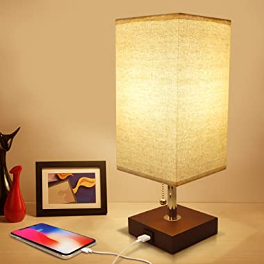 USB Bedside Table Lamp, Seealle Solid Wood Nightstand Lamp, Minimalist Bedside Desk Lamp With USB Charging Port,Unique Lampshde,Convenient Pull Chain, Perfect for Living Room, Bedroom(Havana Brown)