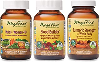 MegaFood, Multi for Women 40+, Blood Builder and Turmeric Strength for Whole Body Supplement Bundle, Supports a Healthy Inflammation Response and Iron Levels (60, 30 & 60 Tablets)