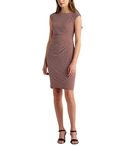 LAUREN Ralph Lauren Print Ruched Boatneck Dress Women