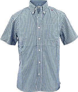 [SWEEP!! LosAngeles スウィープ ロサンゼルス]メンズ コットン 半袖 ギンガムチェック柄 ボタンダウンシャツ S/S GINGHAM BLUE(ブルー)