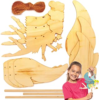 Baker Ross Wooden Flying Fairy Puppet Kits (3 Pack) Ideal Arts and Craft for Children