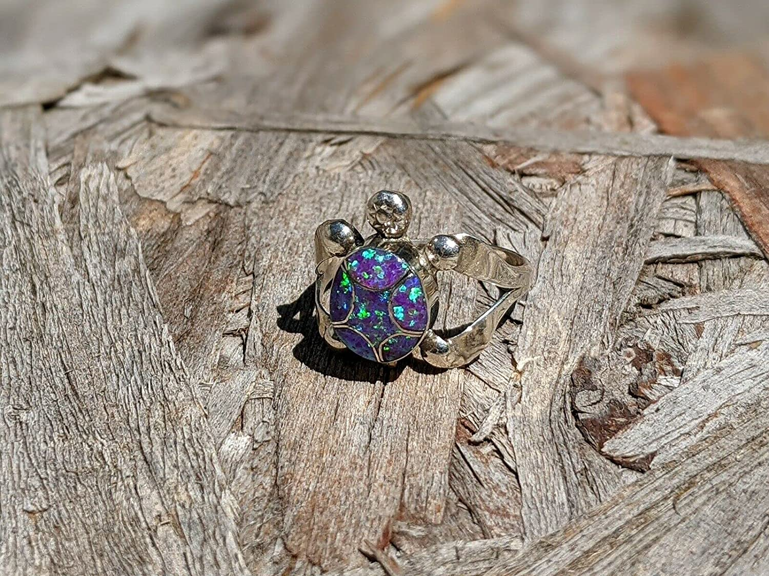 Zuni Ring San Max 63% OFF Diego Mall Turtle Opal Sterling J American Signed Native Silver