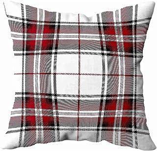 Ducan Lincoln Pillow Case 2PC 18X18,Fundas De Almohada,16X16 Pulgadas Rojo Negro Tartán A Cuadros Tradicional Jaula Escocesa Patrón Textil Fundas De Almohada De Sofá,Fundas De Almohada,Verde Marfil