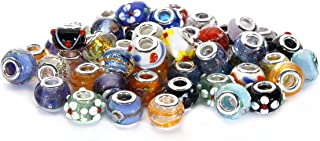 BRCbeads Top Quality 50Pcs Mix Silver Plate STYLE5 Murano Lampwork European Glass Crystal Charms Beads Spacers Fit Troll Chamilia Carlo Biagi Zable Snake Chain Charm Bracelets.