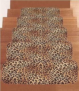 SoSung Animal Print Decor Coral Fleece Stair Treads,Stair Tread Mats,Wild Animal Leopard Skin Pattern Wildlife Inspired Stylish Modern Illustration,(Set of 5) 8.6