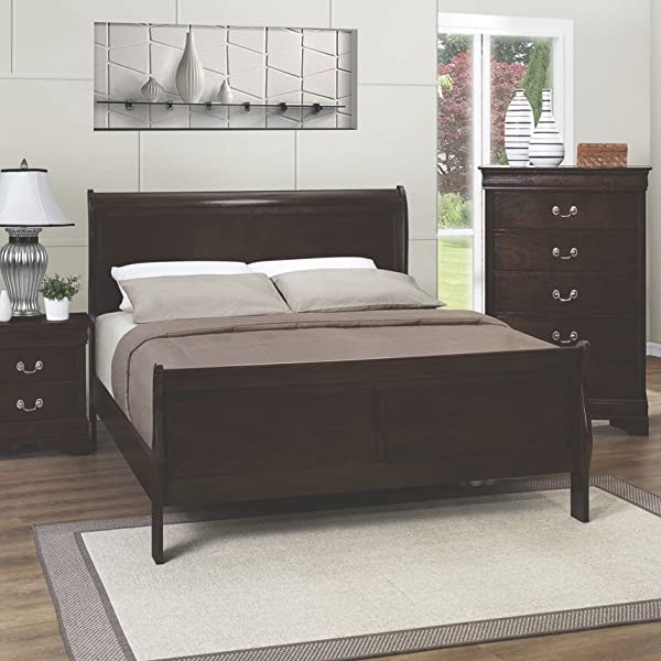 Coaster Home Furnishings Louis Philippe Queen Panel Sleigh Bed Cappuccino