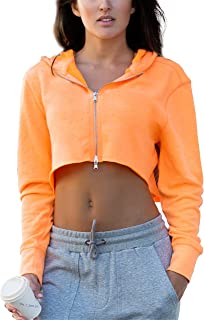 icyzone Long Sleeve Crop Top Zip Up Hoodie Workout Clothes Sweatshirts for Women