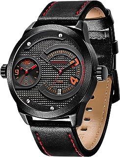 Mens Watches Sapphire Crystal Leather Band 50M Waterproof Classic Dress Analog Quartz Wrist Watch
