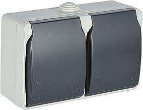 Electraline 605908 2 geaarde stopcontact, 2-voudig, met deksels, geschikt voor buiten en vochtige ruimtes, IP44 beschermd,...