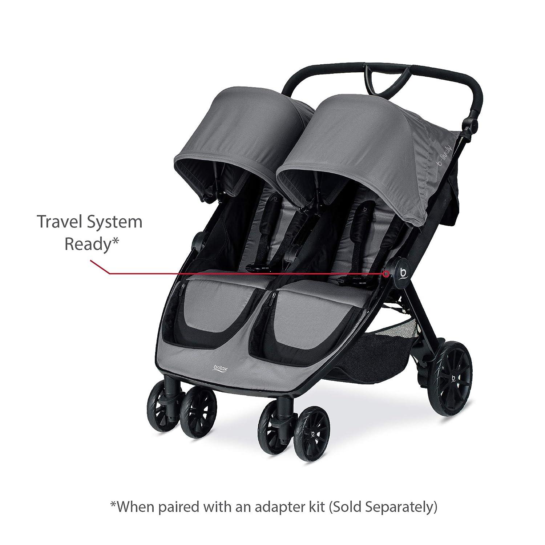 Britax B-Lively Double Stroller, Dove - Adjustable Handlebar + Easy Fold + Large UV50 Canopy