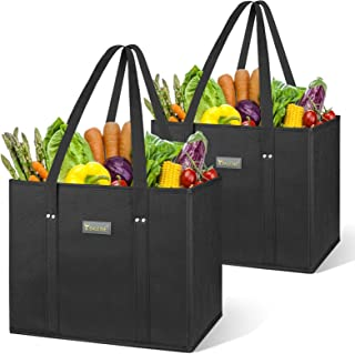 BALEINE 2 Pack Reusable Grocery Shopping Box Bag Set with Reinforced Bottom & Handles, Large Heavy Duty Eco Friendly Colla...