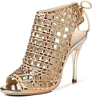 32ff63cf679aef LizForm Women Peep Toe Sandal Boots Lace up Studded Stiletto Shoes Wedding  Dress High Heels