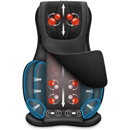 Snailax Coussin de chaise de massage complet du corps - Masseur Shiatsu du cou et du dos avec compresseur de chaleur et d'air, pétrissage du siège de massage, masseur shiatsu pour soulager la fatigue