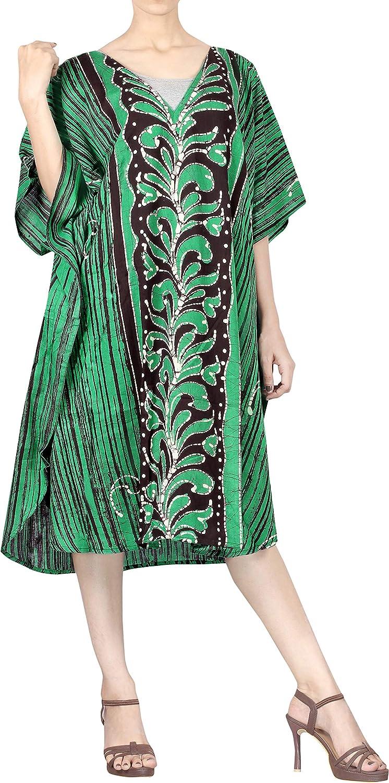 LA LEELA Women's One Size Kaftan Kimono Dresses Loungewear Cover Ups Hand Batik