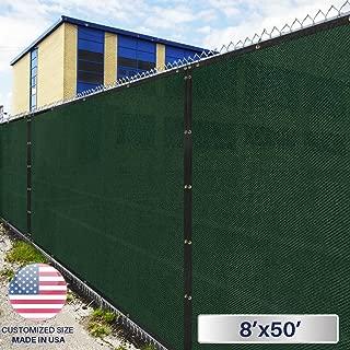 Windscreen4less Heavy Duty Privacy Screen Fence in Color Solid Green 8' x 50' Brass Grommets w/3-Year Warranty 150 GSM (Customized