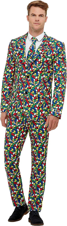 Smiffys 40389L Officially Licensed Rubik's Cube Suit, Men, MultiColour, L  Size 42 44