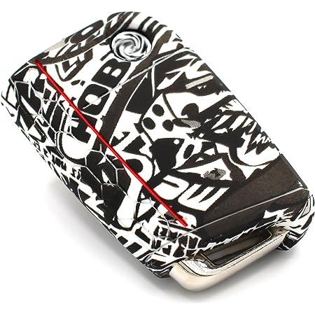 Finest Folia Schlüssel Hülle Vb Für 3 Tasten Auto Schlüssel Silikon Cover Schlüsselhülle Etui Schutzhülle Stickerbomb Schwarz Weiß Auto