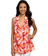 Calvin Klein - Sleeveless Print Draped Blouse