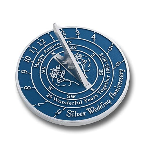 The Metal Foundry 25th Silver Wedding Anniversary 2018 Sundial Gift Idea is A Great Present for