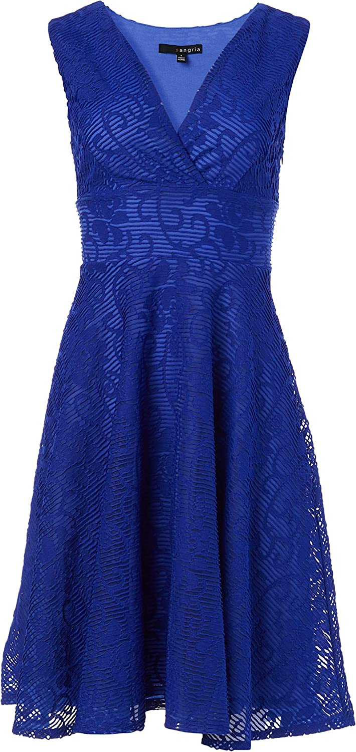 Sangria Women's Sleevelss Lace Fit and Flare Dress with V Neck Line