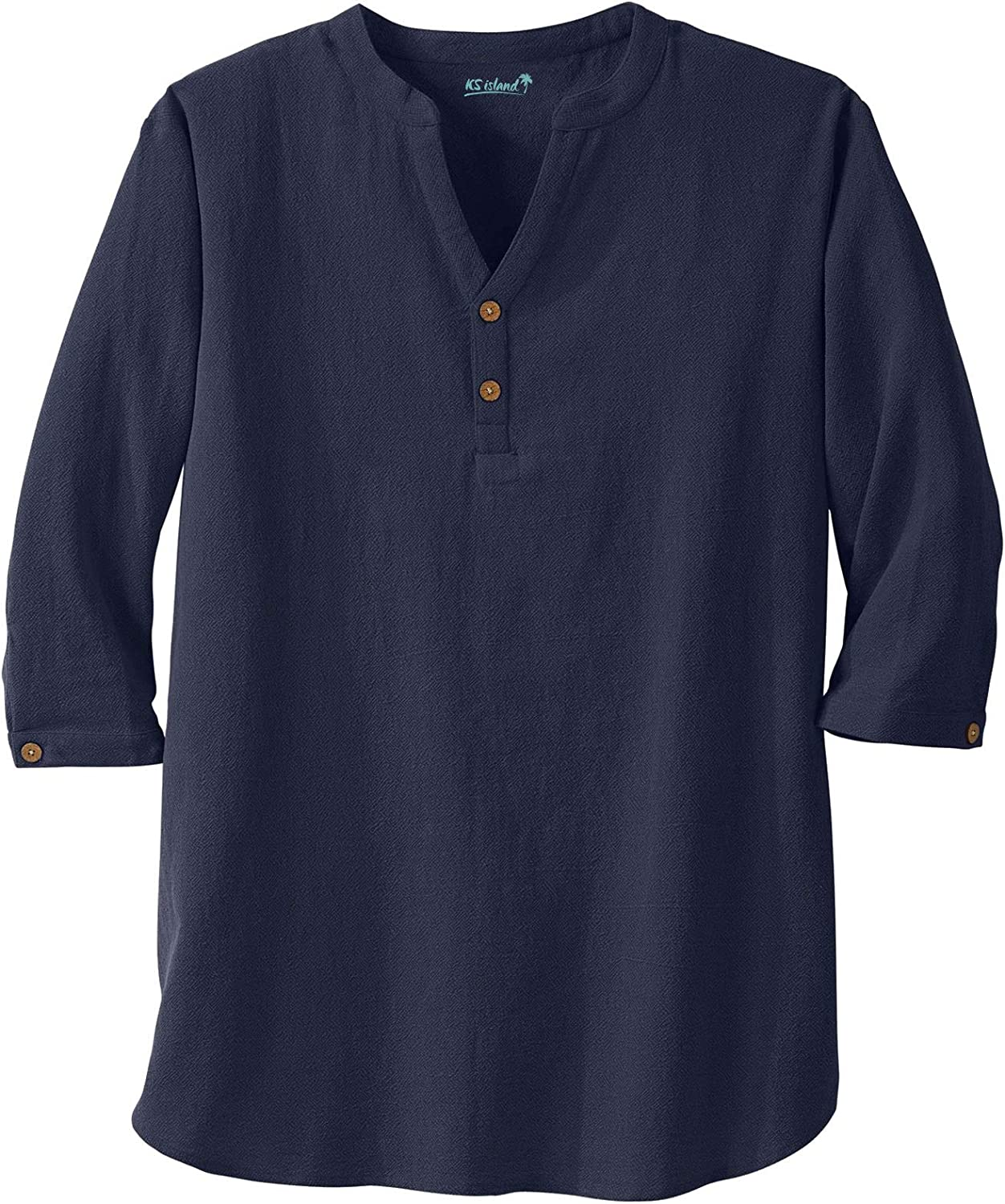 KingSize Mens Big /& Tall Gauze Mandarin Collar Shirt