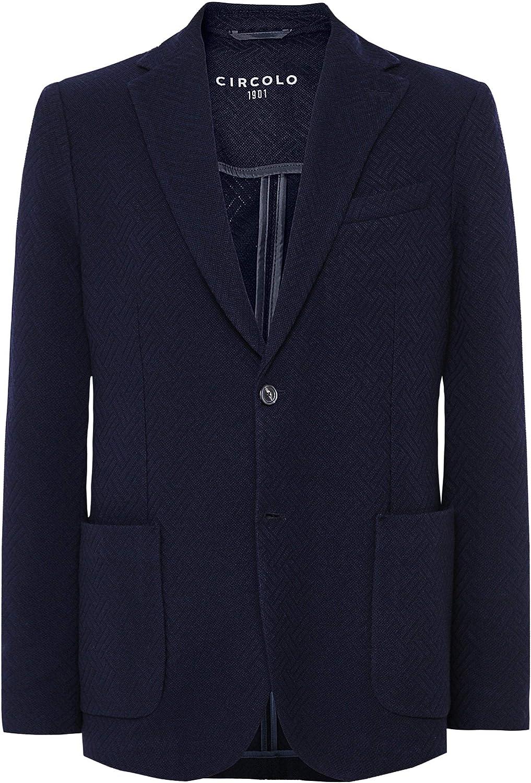 Circolo 1901 Men's Virgin Wool Blend Textured Jacket Blue