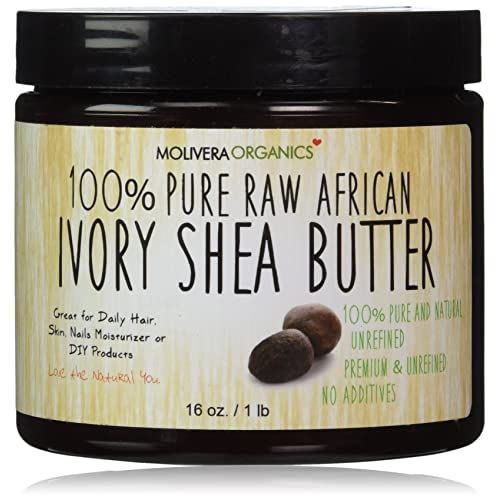 Molivera Organics Raw African Organic Grade A Ivory Shea Butter for Natural Skin Care, Hair Care