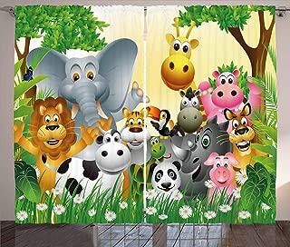 Ambesonne Animal Curtains, Animals in Jungle Elephant Giraffe Panda Bear Pig Lion Hippo Rhino Cartoon Art, Living Room Bedroom Window Drapes 2 Panel Set, 108