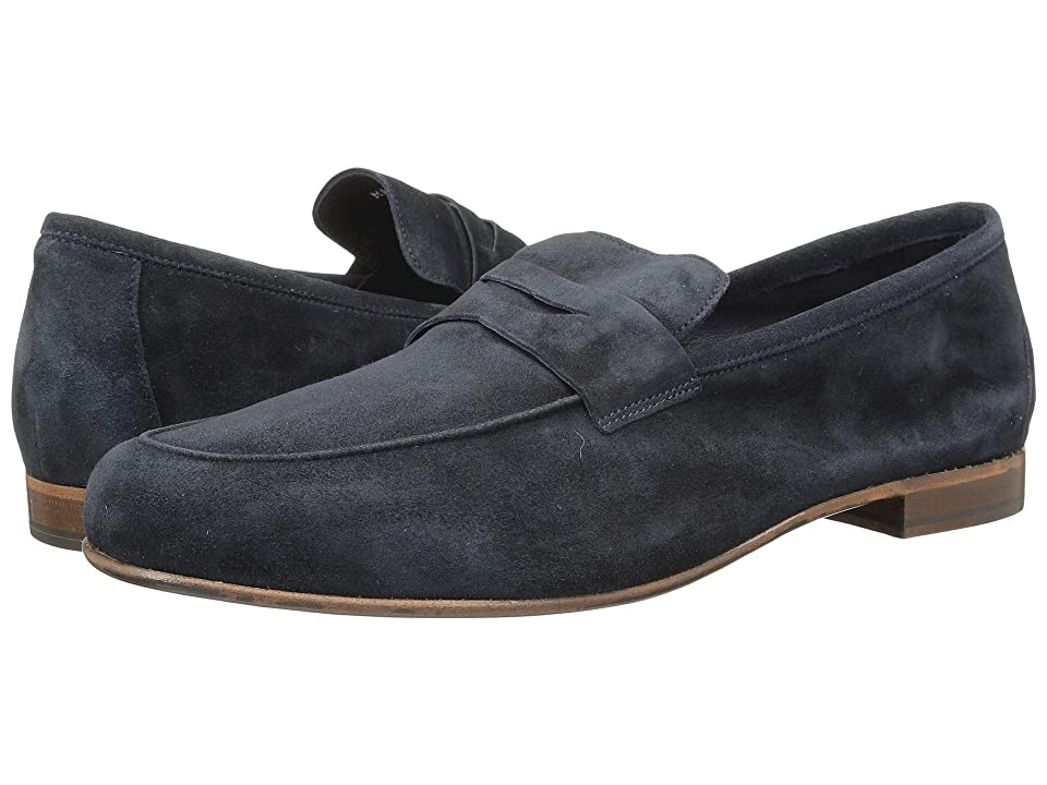 Massimo Matteo Suede Penny Loafer (Navy Blue Suede) Men