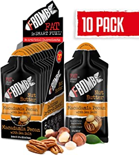 FBOMB Nut Butter 10 Pack: All-Natural Energy, Keto Fat Bombs | High Fat, Low Carb Snack, On-The-Go Energy | Paleo, Vegetarian, Keto Snacks | Macadamia & Pecan - 1 oz Packets