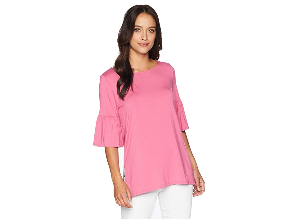 Karen Kane Side Slit Flare Sleeve Top (Peony) Women
