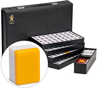Yellow Mountain Imports Japanese Riichi Mahjong Set, White Tiles with Black Vinyl Case - East Wind Tile, Set of Betting St...
