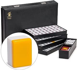 Yellow Mountain Imports Japanese Riichi Mahjong Set, White Tiles with Black Vinyl Case - East Wind Tile, Set of Betting Sticks, & Dice